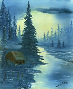 """Blue Cabin""  Oil Painting by Marie Parsons"