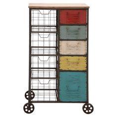 Featuring 4 wire baskets and 5 colorful drawers, this charming wheeled cart is perfect for organizing office supplies, sewing notions, or pantry items.