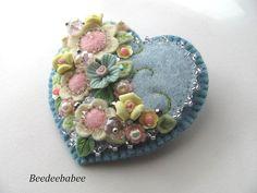 Felt Heart Brooch / Felt Heart Pin by Beedeebabee on Etsy