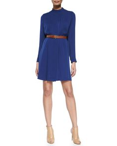 Pleated Silk Shirtdress W/ Belt, Navy - MICHAEL Michael Kors