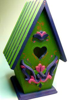 SALE Designer Wood Bird House Custom Hand Painted by VibrantTrains, $19.95