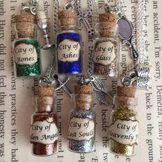 City of Bones , Ashes , Glass Bottle Necklace / Pendant / Bookmark / Earrings…