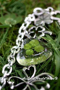 Irish Wedding Charm Bracelet  Four Leaf by AsLuckWouldHaveIt on etsy
