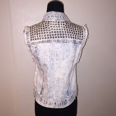 Studded vest  Brand new silver studded vest 100% cotton 18 1/2  in long made in France Jackets & Coats