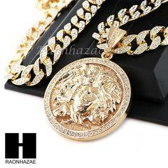 "Hip Hop 14k Gold Plated Medusa medallian Pendant 30"" Iced Out Cuban Link Chain 1"