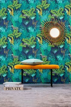 "from Pierre Frey Jungle collection from Pierre Frey Jungle collection Width 140 cm/55"" Repeat : (V) 70 cm /27.5"" (H) 70 cm/27.5"" Non woven paper Available per meter"