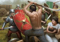 A depiction of Roman soldiers battling Dacian and Germanic warriors during the conquest of Dacia by the Roman emperor Trajan (r. By Darren Tan. Ancient Rome, Ancient History, Ancient Art, Tribal Images, Roman Warriors, Roman Legion, Landsknecht, Roman Soldiers, Roman History