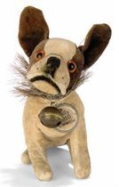 A STEIFF SEATED BULLY, (3410), brown and white velvet, brown