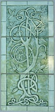 Celtic Tree Of Life Relief Carved Ceramic Tile Set Sculpture by Shannon Gresham Celtic Symbols, Celtic Art, Celtic Dragon, Celtic Knots, Celtic Decor, Celtic Patterns, Celtic Designs, Design Celta, Art Nouveau