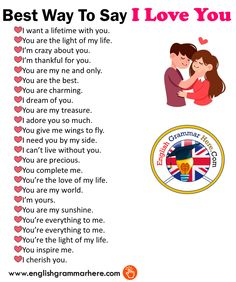 Best Way To Say I Love You in Speaking – English Grammar Here – English Lessons English Sentences, English Phrases, Learn English Words, English Grammar, English English, Love Sentences, English Learning Spoken, English Language Learning, English Writing Skills