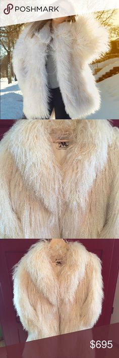 """🎉HP🎉Tibetan Lamb Shearling Jacket Add an extravagant layer to your ensemble with this luxe fur jacket! This sheepskin jacket is vintage 1980s from Mandel's, an upscale department store previously located in Fargo, ND. No size tag but IMO would best fit a Misses size 8 - 10. The ~ measurements are: Sleeve length, 25.5""""; Length, 33""""; Armpit to armpit, 20.5"""". This jacket is authentic shearling. The 1st pic is a stock photo. Jackets & Coats"""