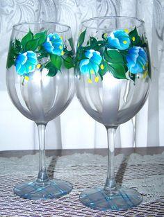 Blue and Silver Floral Stemware Hand Painted Set by BonnysBoutique, $22.00