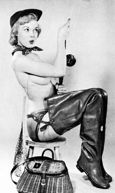Judy O'day in rubber waders.