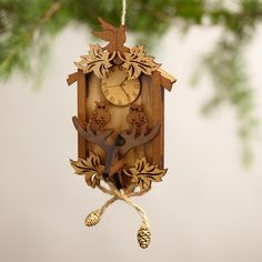 Wood Cuckoo Clock Ornaments, Set of 2 | World Market