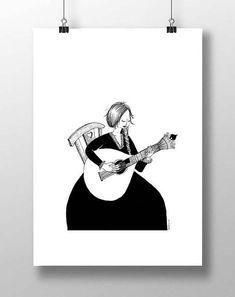 Guitarra Portuguesa Poster | Art print | Fast #art #print #digital @EtsyMktgTool #abstractart #urban #city #susanstraw #inktober #poster #bw Have A Safe Trip, Guitar Drawing, Urban City, Black And White Illustration, Affordable Art, Interior Walls, Inktober, Original Artwork, Naked