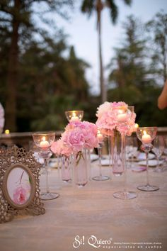 centro de mesa romantico en rosa