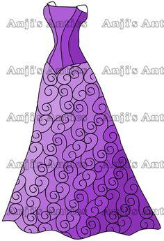 Evening Dress Digital Stamp Image