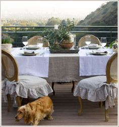 Add texture with special table linens. Build a frame for your picturesque view with natural table decor     Pom Pom at Home Outdoor Dining, Outdoor Decor, Outdoor Spaces, Outdoor Ideas, Seat Covers For Chairs, Table Linens, Linen Tablecloth, Tablecloths, Slipcovers For Chairs
