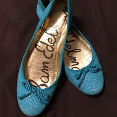 Turquoise Snake Print Flats Worn a couple times. Pretty, bright turquoise color. Sam Edelman Shoes Flats & Loafers
