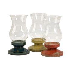 Set of 3 Distressed Boullia Decorative Glass Hurricane Pillar Candle Holders