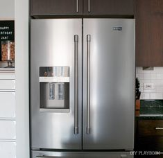 Our French door Maytag refrigerator is a dream for storage when organized efficiently.