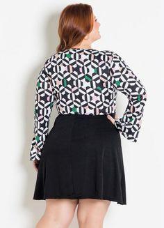Vestido Transpassado Geométrico Preto Plus Size - Marguerite Skater Skirt, Ideias Fashion, Skirts, Products, Plus Size Girls, Mini Skirts, Black, Cut Outs, Sleeves