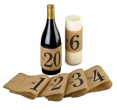 Use these Burlap Table Number Wraps as an alternative to the traditional table numbers.  Add them to wine bottles or candles to create a stylish centerpiece and to help your guests find their table.  Perfect for a rustic or barn theme wedding.  Includes numbers 1-20.