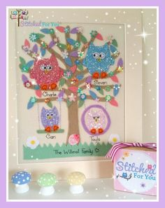 Cute x order book open x stitchedforyou@btinternet.com #stitchedforu #colourful #personalised #handmade #felt #sequins #owls #unique #family