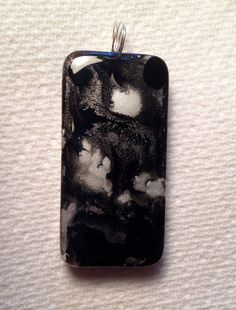 Black and Silver Alcohol Ink Domino Pendant AIArt on Etsy, $20.00