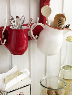 Hooks and mugs: Cute alternative storage idea.