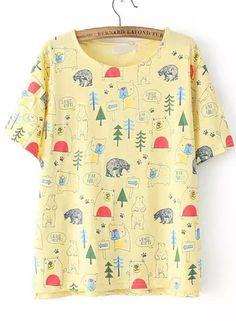 Jungle Inspired Print Yellow T-Shirt