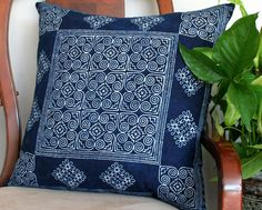Ethnic Hmong natural plant dyed indigo batik on a 20 inch decorative throw pillow / cushion cover. Indigo batik on both sides of the pillow. Great size for a floor pillow.Pile them up, mix and match with other colorful Hmong pillows for a style th...