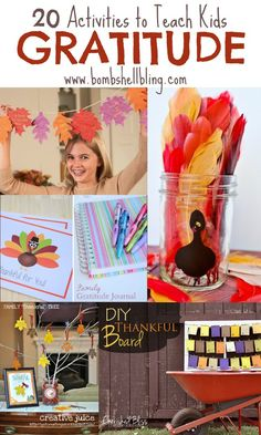 20 fun and creative ways to teach kids gratitude during the Thanksgiving season.