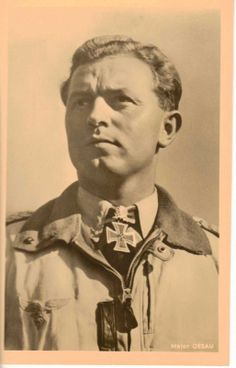 """Walter """"Gulle"""" Oesau (28 June 1913 – 11 May 1944) served in the Luftwaffe from 1934 until his death scoring 127 kills. He served with the Condor Legion during the Spanish Civil War, claiming 8 aircraft during the campaign, earning the Spanish Cross in Gold and Diamonds. He flew with JG 20, JG 51 and was designated Geschwaderkommodore of JG 1. He was killed in action on 11 May 1944 aged 30. JG 1 was given the suffix """"Oesau"""" in his honor."""