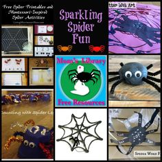 Sparkling spiders and web crafty and educational activities are the feature this week on Mom's Library Free Resources Linky Party! Creep on over for fun!