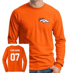 Hand Made Personalized Denver Broncos Team Spirit Jersey Shirt.  Front logo is embroidered with the highest in thread quality, which will not wash out when adding bleach to your machine wash (though it is never recommended to do so).  Back name and number is in the very highest and thinnest quality vinyl (as used on professional jerseys), which really makes the shirt stand out.      This Tee shirt will surely add to your Denver Broncos team spirit and have you stand out of the crowd at a…