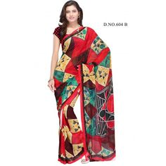 Majesty multi color printed saree  - Online Shopping for Georgette Sarees by danifashions