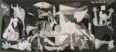Guernica  Pablo Picasso  Date: 1937  Style: Cubism, Surrealism  Period: Neoclassicist & Surrealist Period  Genre: allegorical painting  Media: oil, canvas  Dimensions: 776 x 349 cm  Location: Museo Nacional Centro de Arte Reina Sofía (MNCARS), Madrid, Spain