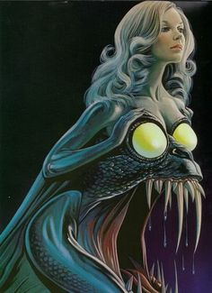 So, apparently this is from the Italian movie poster for Il prato macchiato di rosso [The Bloodstained Lawn], but if we're talking deep-sea mermaid, I think an angler-fish mermaid takes the cake. Scary Mermaid, Mermaid Art, Realistic Mermaid, Mermaid Scales, Fantasy Kunst, Dark Fantasy Art, Fantasy Artwork, Arte Horror, Horror Art