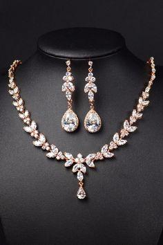 Rose gold Bridal Bridesmaid Jewelry set .Long Earrings