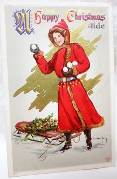 1911 Postcard R Ford Harper Christmas Lady w Snowballs & Sled F Sanders… American Illustration, Illustration Art, Illustrations, Hip Store, Antique Christmas, Holiday Postcards, Snowball, Jingle Bells, Postcard Size