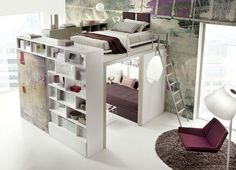 14 Inspirational Bedroom Ideas For Teenagers // This loft bed by Tumidei is every teens dream. With tons of storage and the ability to create a room within a room, it gives teens tons of privacy and turns their bedroom into a tiny apartment.