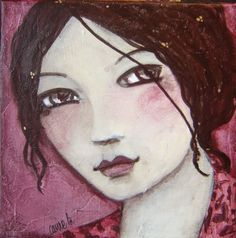 Art/illustration by Carine Bouvard French) Abstract Faces, Abstract Portrait, Portrait Art, Mixed Media Faces, Mixed Media Art, Atelier D Art, Painting People, Small Art, Portraits