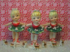 Vintage Red and Green Christmas Ballerinas* so sweet Shabby Chic Christmas, Merry Christmas To All, Retro Christmas, Christmas Items, Vintage Holiday, Christmas Angels, Holiday Fun, Christmas Holidays, Christmas Decorations