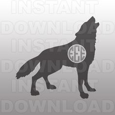 Wolf Monogram SVG FileHowling Wolf SVG File-Cutting by sammo