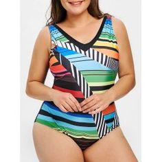 Plus Size Geometric Print One Piece Swimsuit Plus Size One Piece, Plus Size Sweaters, Striped Bikini, Plus Size Swimwear, Sexy Curves, Bra Styles, Bikini Set, One Piece Swimsuit, Tankini
