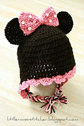 Ravelry: Toddler Minnie Mouse Earflap Hat pattern by Little Miss Stitcher