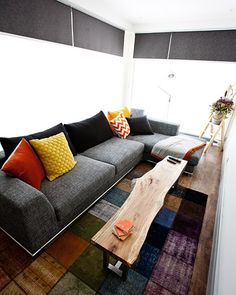 Grey colourful wooden rustic lounge room | Dale and Sophie the block