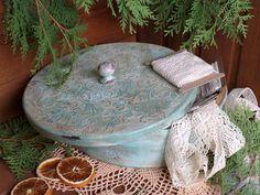 """Caixões feitos à mão.  Mestres Fair - handmade caixão grande """"Mint vintage"""".  Decoupage .. Handmade."""