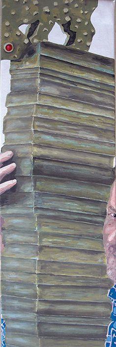 """""""Autoritratto con ex libris"""" acrilici su tela, cm 94x30. 2007"""